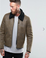 ASOS Faux Shearling Jacket In Khaki RRP £70 - New with Tags
