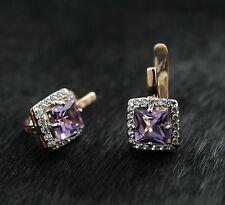14k Rose Gold Huggie Hoop Earrings With Amethyst 585 Russian Gold Gift Boxed