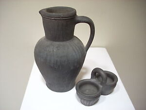 Vintage Earthenware Ceramic Pitcher Vase Set - Artisan Made in Poland