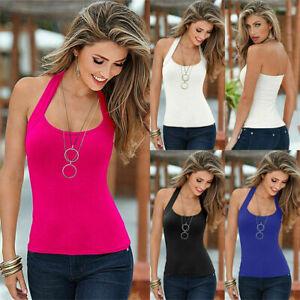 UK Womens Halter Vest T-Shirt Sleeveless Summer Beach Tank Tops Blouse Cami Size