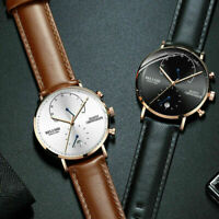 Men's Leather Stainless Steel Chrono Date Analog Quartz Waterproof Wrist Watch