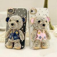 Cute 3D Bear Design Rhinestone Bling Diamond Crystal Clear Back Case Cover Skin