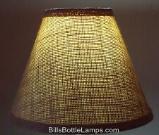 """Rustic Cottage Cabin Burlap Table Light LAMP SHADE """"Clip-On"""" Bulb 9"""" inch Cone"""