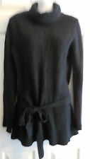 FREE PEOPLE  BLACK PUFFY ANGORA BLEND SHORT LONG  TUNIC SWEATER   L