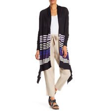 DKNY Black Blue Striped Open Front High Low Cardigan Sweater NWT Size XS/S