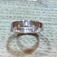 Sterlin silver wedding band unisex band ring flat band 4mm width