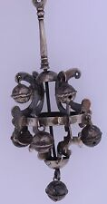 Old Sterling silver unusual big pendant, key chain decoration many bells ethnic