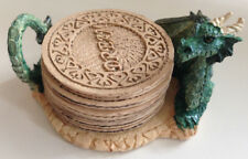 Mythical Green Dragon Inspirational Coaster Set Whimsical Fantasy Fairy Tale New
