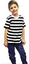 New Children's Kids Unisex Black White Striped T-shirt Casual Summer Top