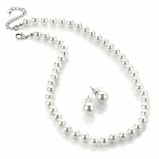 White 8mm Small Mock Pearl Necklace and Stud Earring Set - Wedding Jewellery