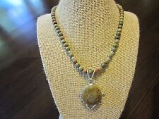 925 Sterling Silver Signed Big Drop Pendant Natural Unakite Beaded Necklace 18""