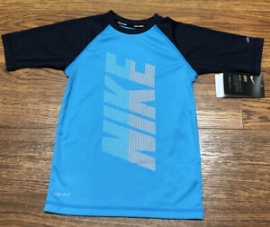 Boys Nike Rash Guard Swim Sh, Blue With Big Nike Graphic On Front, Size 4 NWT