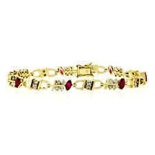0ed86c4c0a71 14k Oro Amarillo 4.40ctw Marquesita Rubí Rojo   Redondo Diamante ...
