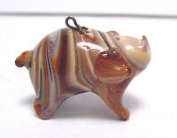 VICTORIAN AGATE GLASS LARGE PIG CHARM FOB PENDANT SYBOLL