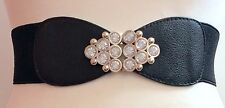 THICK ELASTIC WAIST BLACK BELT / CHUNKY GOLD OVAL BUCKLE & CRYSTAL STONES / 3