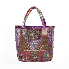 Indian Village Art Large Vintage Bag Patchwork Embroidered Women Tote Bag Purple