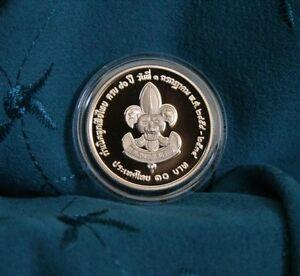 King Bhumibol Adulyadej Rama 9 & Rama 6 1991 10 Baht Thailand Proof Coin Scouts