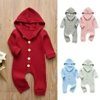 Newborn Baby Girls Boys Long Sleeve Solid Hooded Jumpsuit Infant Romper Bodysuit