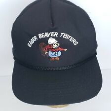 Eager Beaver Testers Snap Back Baseball Cap Black Embroidered Trucker Farmer Hat