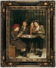 Brown Tough Customers 1881 Wood Framed Canvas Print Repro 12x16