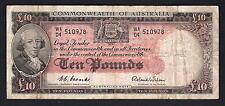 Australia R-62.. (1954) Ten Pounds.. Coombs/Wilson - Commonwealth Bank... Fine..