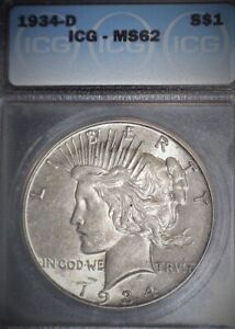 1934-D Peace Silver Dollar ICG MS62, Key Date, Issue Free, Nice !!