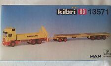 KIBRI 13571 autocarro Man con gru e rimorchio pianale ribassato in kit 1/87