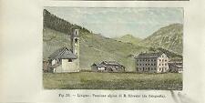 Stampa antica LIVIGNO Pensione Alpina e Chiesa Valtellina Sondrio 1896 Old Print