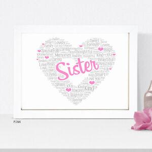 Personalised Best Sister Print Special Birthday Gifts Sisters Keepsake Gift