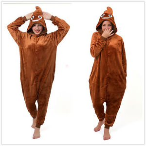 Poo Emoji Emojee Onesiee Kigurumi Fancy Dress Costume Hoody Pajamas Sleep wear