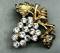 Crystal Clear Rhinestone Grape Bunch Gold-tone Brooch Pin Vintage Estate Jewelry