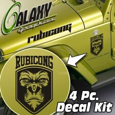Jeep Wrangler Side Hood Decal Kit - Rubicong Matte Black Sticker TJ LJ JK
