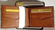 Men's Fossil Leather Wallet Bifold RFID Theft Protectio Tan NWT Orig. $50.