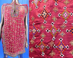 Vintage Afghan Tribal Ethnic Embroidered Boho Bedouin Kaftan Dress Front Fabric