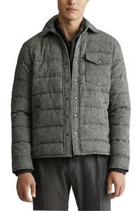 NWT Polo Ralph Lauren Wool Tweed Herringbone 750 Down Quilted Shirt Jacket Sz XL