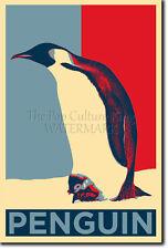 PENGUIN ART PHOTO PRINT (OBAMA HOPE) POSTER GIFT ANIMAL LOVER EMPEROR