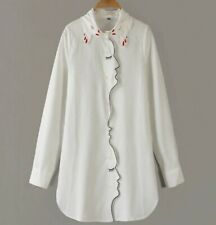 Ivory White Red  Embroidered Portrait  Blouse 8 10
