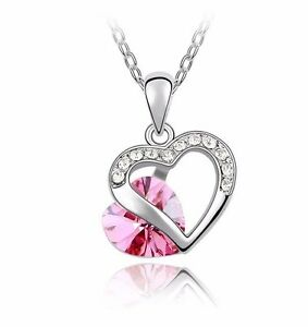 18K Gold GP SWAROVSKI Element Crystal Stylish Heart Pendant Necklace Pink