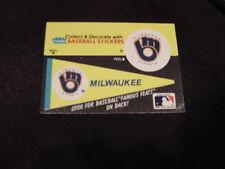 VINTAGE Milwaukee Brewers Fleer Pennant Sticker Card, HI GRADE!!