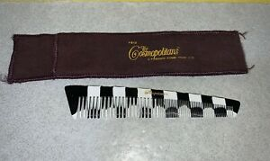 "Vintage ACE Cosmopolitans Comb Black & White #513 w/ Soft Cover - 7"" Long"