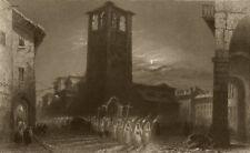PIEDMONT/PIEMONTE. Torchlight parade in Pinerolo (Feb 16th?) Nuns. BARTLETT 1838