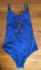 Madewell tavik monahan lace-up one-piece swimsuit in blue Sz XS