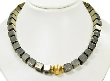 Gorgeous Precious Stone Necklace In Pyrite In Cube Shape
