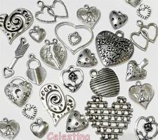 50 Mixed Tibetan Silver HEART Pendants CHARMS - Designs 8mm - 30mm