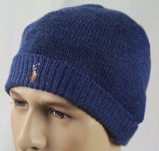 Polo Ralph Lauren Blue Merino Wool Cuff Beanie Hat Skull NWT