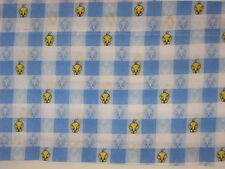 "Dan River Warner Bros Looney Toons Baby Tweety Valance Blue White Check 85"" NEW"