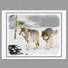 6 Wolves in Snow Wolf Art Blank Note Greeting Cards