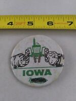 Vintage Iowa BEEF HOG Farming Tractor Agriculture pin button pinback *EE90