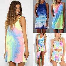Womens BOHO Pastel Tie Dye Rainbow Playsuit Dress Summer Beach Shorts Sundress