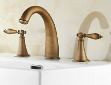 "Antique Brass Deck Mounted 8"" Widespread Bathroom Basin Sink Faucet Mixer Tap"